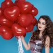 Beauty sexy woman with red heart baloon Valentines day birthday — Foto Stock #64533463