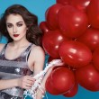 Beauty sexy woman with red heart baloon Valentines day birthday — Φωτογραφία Αρχείου #64533725