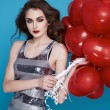 Beauty sexy woman with red heart baloon Valentines day birthday — Fotografia Stock  #64533729