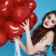 Beauty sexy woman with red heart baloon Valentines day birthday — Stockfoto #64535855