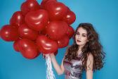 Beauty sexy woman with red heart baloon Valentines day birthday — Φωτογραφία Αρχείου