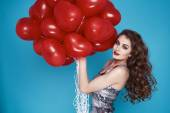 Beauty sexy woman with red heart baloon Valentines day birthday — Photo