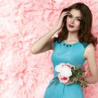 Beautiful sexy woman in dress many flowers makeup summer spring — Stock Photo #67825965