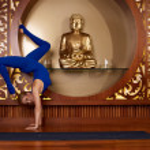 Beautiful sexy blond woman doing yoga pilates fitness — Stock Photo #67984179