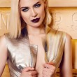 Beautiful sexy woman blond hair make up party coctail dress — Stock Photo #68909613