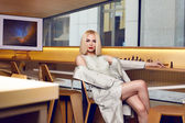 Beautiful sexy woman blond hair make up party coctail dress — Stock Photo