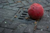 Old Soccer Ball in Gutter — Stock Photo