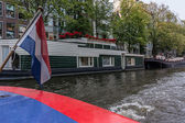 Canal House Boat with Dutch Flag — Stock Photo