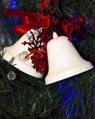 Christmas decorations white bells — Stock Photo