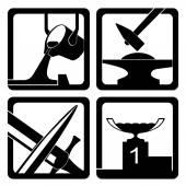 Symbols of hard work — Stock Vector