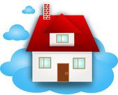 House on blue cloud — Stock Photo