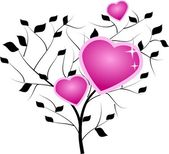 Tree with pink hearts — Stock Photo