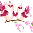 Couple of pink birds on twig — Stock Photo #52402037
