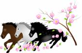 Three horses running in falling blooms of tree — Stock Photo