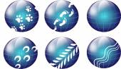 Blue globes with steps — Stock Photo