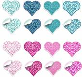 Blue and pink hearts labels — Foto de Stock