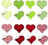 Green and red hearts labels — Foto de Stock