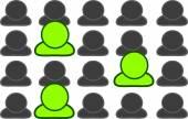 Three green people — Foto de Stock