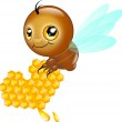 Cute bee with honey heart — Stock Photo #53039749