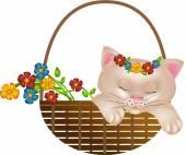 Gattino in cesto con fiori — Foto Stock