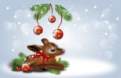 Christmas background with fawn — Stock Photo