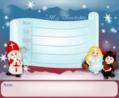 Timetable with St. Nicholas group — Stock Photo