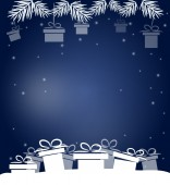 Christmas blue background with gifts — 图库照片