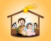 Virgin Mary, St. Joseph and baby Jesus in creche — Stock Photo