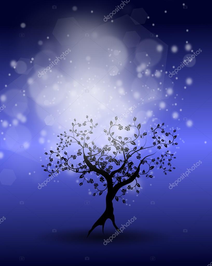 深蓝色背景中的与树装饰用灯– 图库图片