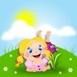 Cartoon girl lay down in grass — Stock Photo #71720801