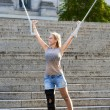 Blonde woman with crutches — Stock Photo #53934313