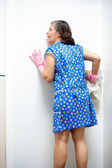 Nosy cleaning lady — Stock Photo