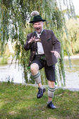 Bavarian man dancing — Stock Photo