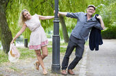 Couple in a park — Stock Photo