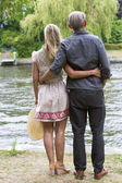 Backside of a couple in a park — Stock Photo