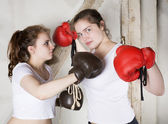 Two girls as boxers — Photo