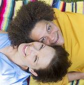 Two woman lying on blanket — Foto de Stock