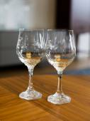 Two crystal wine glasses — Foto de Stock