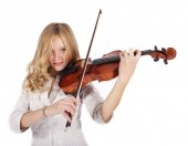 Blonde girl plays on the violin — Stock Photo