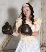 Princess with boxing gloves — Stock Photo