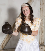 Princess with boxing gloves — Foto Stock