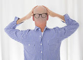 Back of a bald head with glasses — Stockfoto
