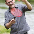 Man playing badminton — Stock Photo #54485271