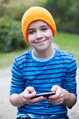 Boy playing on phone — Stock Photo