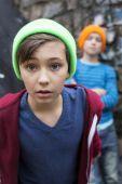 Two boys on playground — Stok fotoğraf