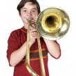 Boy with a trombone — Stock Photo #55986309