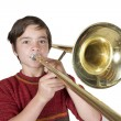Boy with a trombone — Stock Photo #55986039