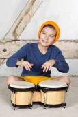 Boy with a drum — Stockfoto