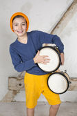 Boy with a drum — Stockfoto