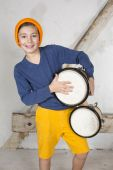Boy with a drum — Stock Photo